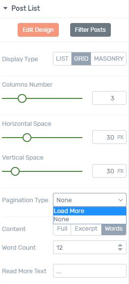 Thrive Architect Post list Pagination Options
