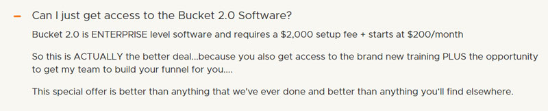bucket 2.0 software pricing