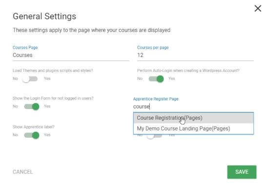 Set a custom thrive apprentice register page