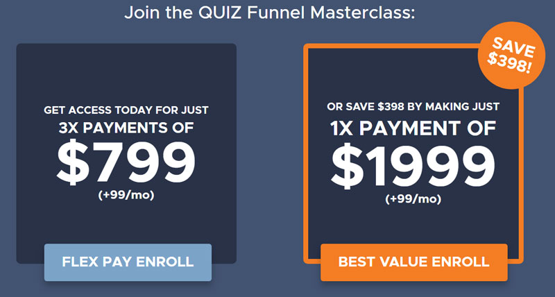 Quiz Funnel Masterclass Pricing