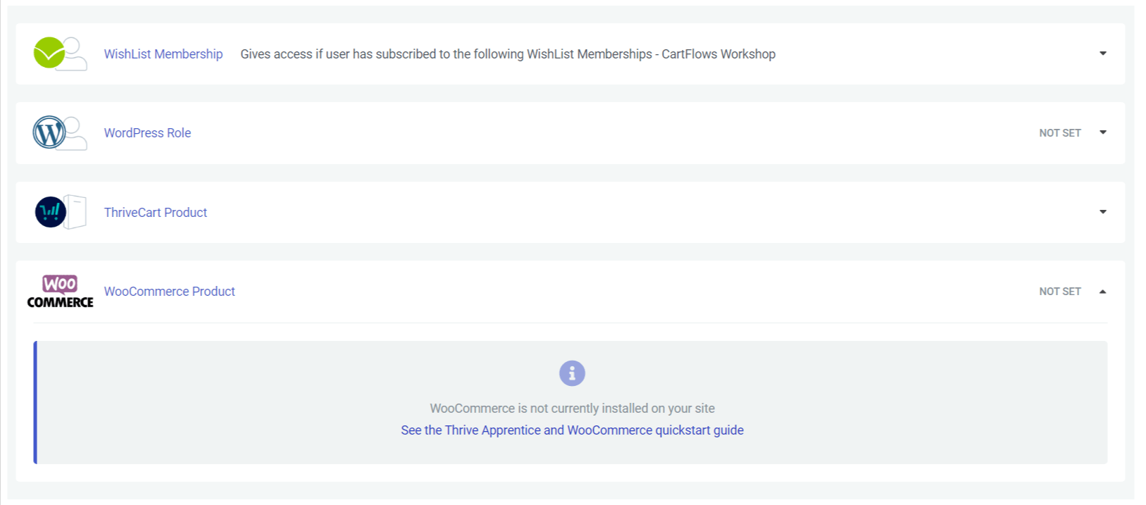 Thrive Apprentice WooCommerce access restrictions