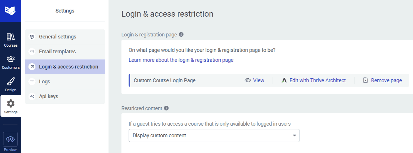 thrive apprentice custom login page